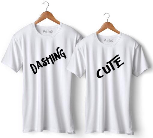 Dashing Cute Printed White Couple T-Shirt