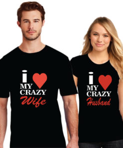 Crazy Wife And Husband Printed Couple T-Shirt