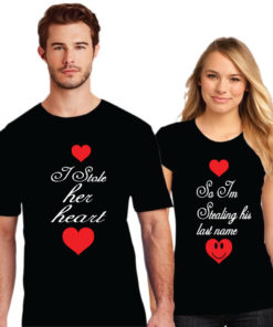 She Stole My Heart So I m Stealing His Last Name Couple T-Shirt